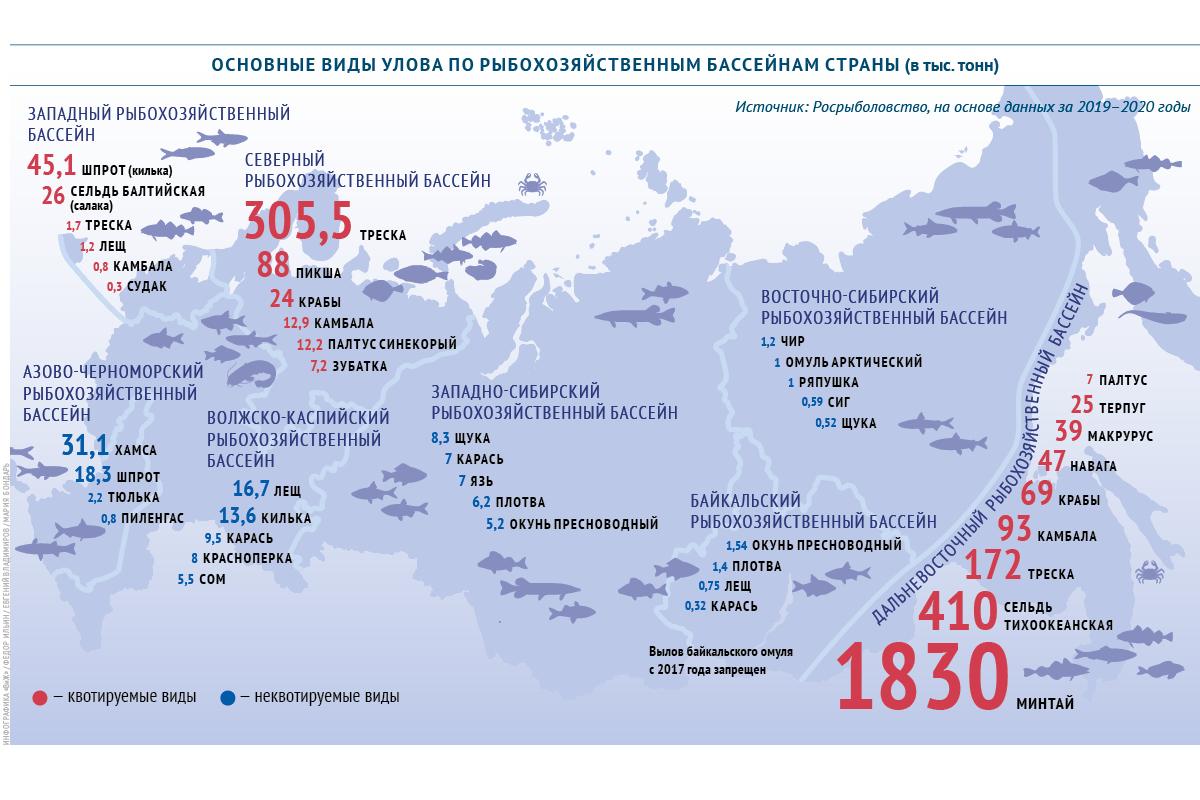 Основные виды улова по рыбохозяйственным бассейнам России